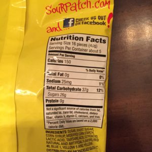 Sour Patch Kids Extreme Nutrition Facts