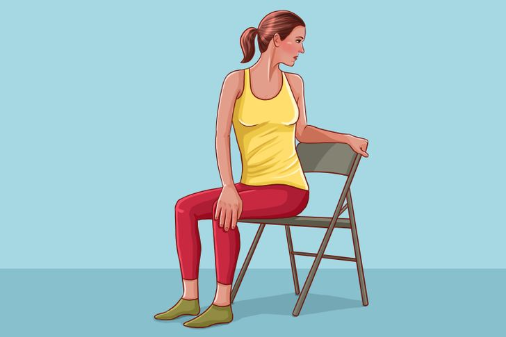 Seated Lower Back Rotational Stretches